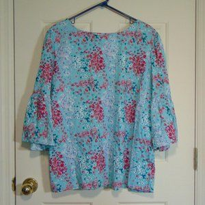 Time and Tru Floral Bell Sleeve Blouse XXXL